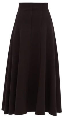 Norma Kamali Grace Panelled Stretch-jersey Midi Skirt - Womens - Black