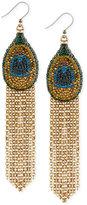 Lucky Brand Gold-Tone Pavé Peacock Long Fringe Drop Earrings
