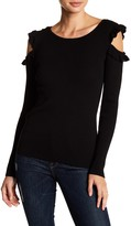 Amy Byer Ruffle Trim Cold Shoulder Sweater
