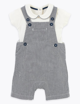 Marks and Spencer 2 Piece Cotton Rich Striped Dungarees Outfit (0-36 Mths)