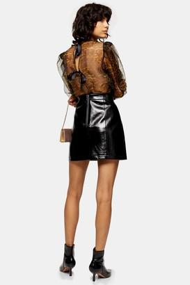 Topshop Womens Black Faux Leather Vinyl Mini Skirt - Black