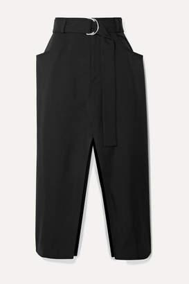 Proenza Schouler Belted Wool-blend Twill Midi Skirt - Black