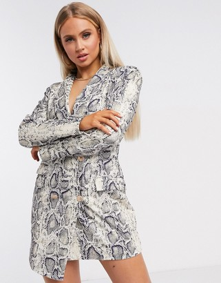 UNIQUE21 asymmetric blazer dress in snake print