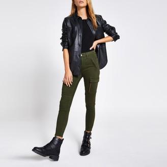 River Island Womens Khaki Amelie cargo super skinny zip jeans