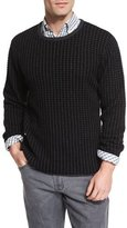 Billy Reid Cashmere Grid Sweater, Charcoal