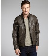 Calvin Klein charcoal faux leather knit hood jacket