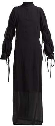 Ann Demeulemeester Open-back Silk-chiffon Dress - Womens - Black