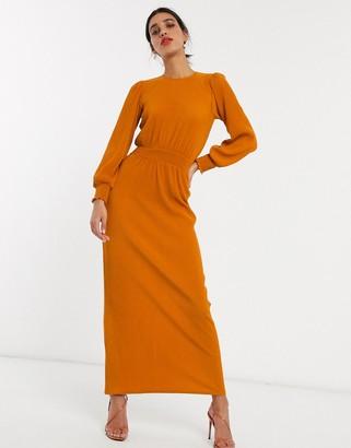 ASOS DESIGN high neck shirred waist plisse maxi dress in rust