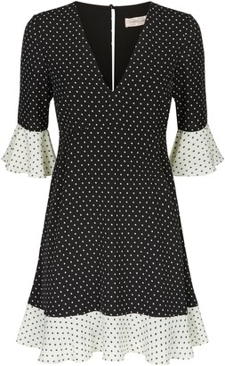 Traffic People Frill Star Print Mini Dress In Black And White