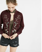 Express Butterfly Embroidery Raglan Sleeve Bomber Jacket