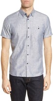 Ted Baker Pleater Slim Fit Short Sleeve Button-Up Shirt