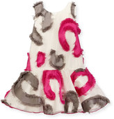 Zoë Ltd Sleeveless Patterned Fringe Tulle Dress, Multicolor, Size 7-16