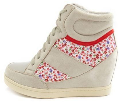 Charlotte Russe Sueded Floral Inset Wedge Sneaker