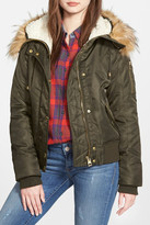 GUESS Faux Fur & Faux Shearling Hooded Satin Bomber Jacket