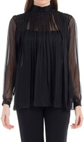 Max Studio Silk Mesh Blouse