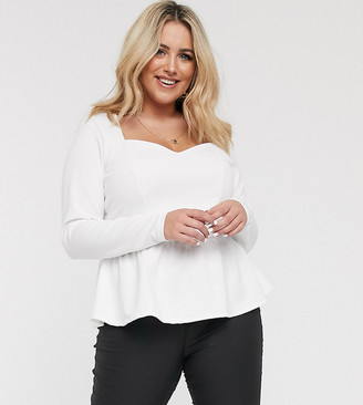 Asos DESIGN Curve exclusive scuba top with long sleeve and pep hem in white