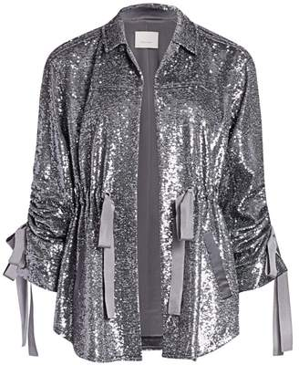 Cinq à Sept Mathieu Ruched Sequin Jacket