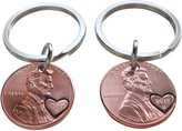 JewelryEveryday Double Keychain Set 2017 Penny Keychains with Heart on Year, Couples Keychain