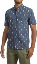 Free Nature Surfboard Print Cotton Poplin Shirt - Short Sleeve (For Men)