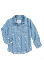 Rails Toddler Girl's Carter Swan Print Chambray Button Front Shirt