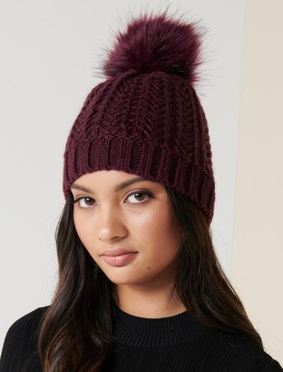 Forever New Navada Faux Fur Pom Beanie - Berry - 00