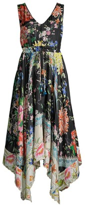 Johnny Was Meru Floral Silk Midi Dress