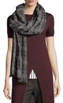 Brunello Cucinelli Cashmere Check Scarf, Gray/Black
