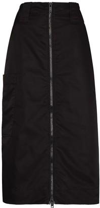 Ganni High-Waisted Zipped Midi Skirt