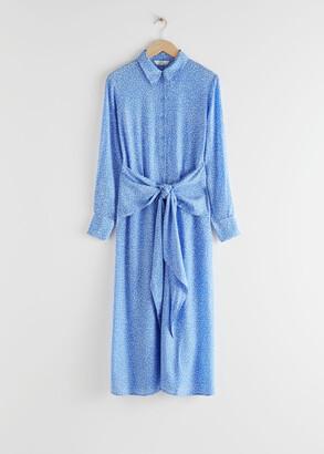 And other stories Polka Dot Waist Tie Midi Dress