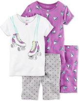 Carter's 4-Pc. Roller Skates Cotton Pajama Set, Little Girls (2-6X) & Big Girls (7-16)
