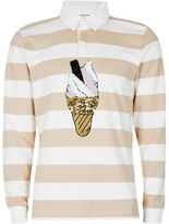 Topman DESIGN Pink Stripe Ice Cream Rugby Shirt