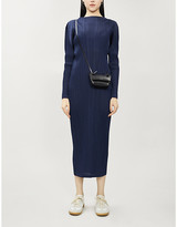 Pleats Please Issey Miyake Prussion Blue Pleated Long-Sleeved Woven Midi Dress, Size: 3