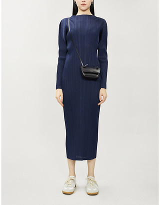 Pleats Please Issey Miyake Pleated long-sleeved woven midi dress