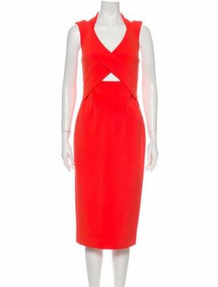 Nicholas V-Neck Midi Length Dress w/ Tags Orange