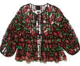 Anna Sui Ruffled Appliquéd Printed Mesh And Chiffon Top