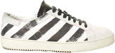 Off-White Striped low-top nubuck-leather trainers