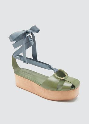 Ulla Johnson Mako Tricolor Ankle-Wrap Platform Sandals