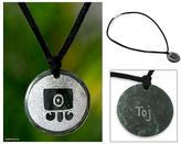 Handmade Jade Pendant Necklace, 'Toj Maya Karma'