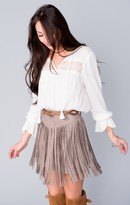 MUMU Rancho Fringe Skirt ~ Taupe Faux Suede