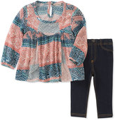Lucky Brand Pink & Blue Geo Tunic & Jeggings - Infant, Toddler & Girls