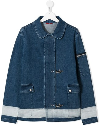 Fay Kids TEEN buckled denim jacket