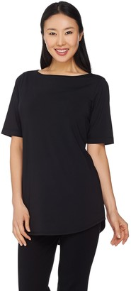 Joan Rivers Classics Collection Joan Rivers Luxe Knit Tunic Top with Shirt Tail Hem