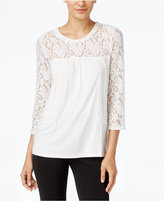 Cable & Gauge Lace-Trim Peasant Top