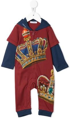 Dolce & Gabbana Kids Crown Print Zipped Babygrow