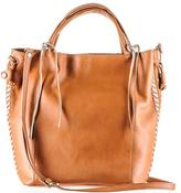 Black Embellished Tan Calf Leather Tote