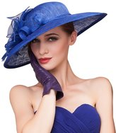 HomArt Women's Floral Wide Brim Sun Hat Beach Wedding Church Kentucky Derby Hat