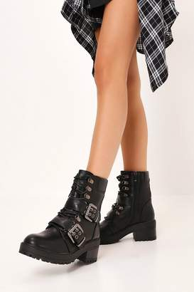 I SAW IT FIRST Black Chunky Buckle Detail Lace Up Ankle Boots