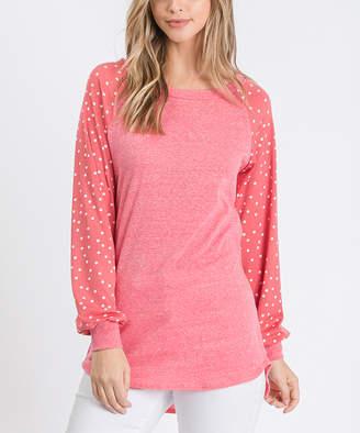 Cool Melon Women's Tee Shirts Coral - Coral Polka Dot Cuffed Raglan Tee - Women & Plus