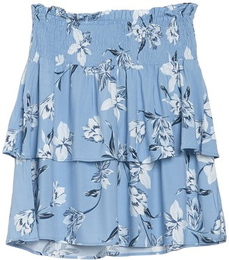 Planet Gold Smocked Waist Floral Print Tiered Skirt
