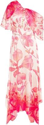 Peter Pilotto Draped Embellished Floral-print Hammered Stretch-silk Satin Midi Dress